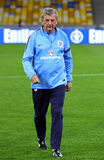 Manager Roy Hodgson of England. KYIV, UKRAINE - SEPTEMBER 9, 2013: England National football team manager Roy Hodgson walks during training session before FIFA Stock Image
