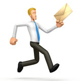 Manager runs with a letter Royalty Free Stock Image