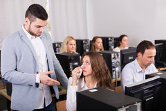 Manager scolding upset office worker Stock Photos