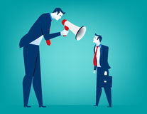 Manager screaming in megaphone on  man colleague. Reproach with. Businessman. Concept business illustration. Vector flat Royalty Free Stock Photos
