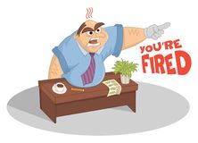 Manager screaming and pointing with finger in his office. Funny cartoon vector boss sitting at the table kicked out the door. royalty free illustration