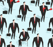 Manager seamless pattern. Business varied in different situation. S texture. Ornament of men in costume. Red tie and business suit rigorous Royalty Free Stock Photography
