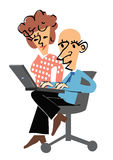 Manager and secretary. Manager on a chair with a laptop and his secretary Royalty Free Stock Images