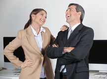 Manager and secretary laughing stock photos