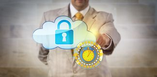 Manager Securing Cloud Data In Near Real Time. Unrecognizable manager securing cloud data in near real time. IT concept for remote access control, cybersecurity Royalty Free Stock Photos