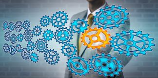 Manager Selecting Pinion In Virtual Gear Train royalty free stock image