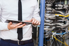 IT Manager in the server room. Internet service provider, server maintenance Royalty Free Stock Photography