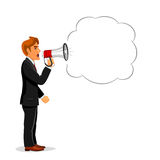 Manager shouting through megaphone with copy space Royalty Free Stock Image