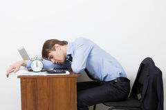 Manager shouts at the alarm clock Royalty Free Stock Photo