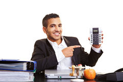 Manager showing calculator Stock Photography