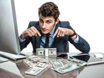 Manager showing his earnings, profit, income, gain, benefit, margin Royalty Free Stock Image