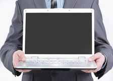 Manager showing open laptop .isolated on white. Background stock image