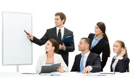 Manager showing something on screen to the group of people. Manager showing something on screen to the group of business people, isolated on white. Concept of stock photo