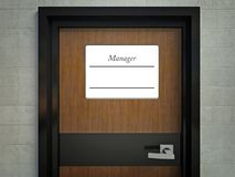 Manager sign name on office door Royalty Free Stock Image