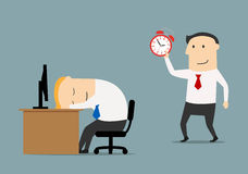 Manager sneaks to sleeping colleague to wake. Smiling businessman or manager sneaks to sleeping colleague to wake with alarm clock, for overworked or joke Royalty Free Stock Photography