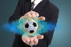Manager soccer used hand cover brazil FIFA world cup Stock Images