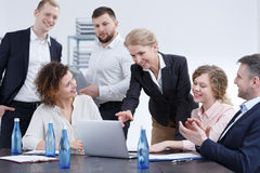 Manager speaking about her idea. During business meeting Royalty Free Stock Photos
