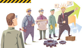 Manager is speaking to his audience - the workers. stock illustration
