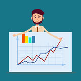 Manager Standing Behind Placard with Charts Vector Royalty Free Stock Photography