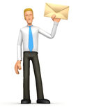 Manager standing with a letter Royalty Free Stock Photos
