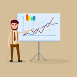 Manager Standing Near Placard with Charts Flat Stock Images