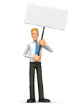 Manager standing with placards on the picket Royalty Free Stock Photos