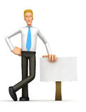Manager stands beside the blank board Stock Photos