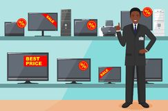 Manager in store with TVs, computers, laptops, printers, monitors. The salesman in the electrical shop. Detailed. Big sale. Detailed illustration of the seller Royalty Free Stock Photography