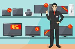 Manager in store with TVs, computers, laptops, printers, monitors. The salesman in the electrical shop. Detailed illustration of t Royalty Free Stock Photos