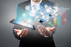 Manager with tablet and smart phone Stock Photos