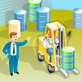 Manager talk to worker. About job stock illustration