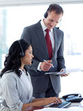 Manager talking to an  businesswoman Royalty Free Stock Images