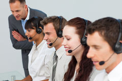 Manager talking to his team in a call center Royalty Free Stock Photo
