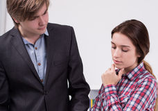 Manager talking with worried employee Stock Photos