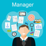 Manager task illustration. Flat design illustration concepts for management Royalty Free Stock Photography