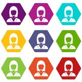 Manager taxi icon set color hexahedron Stock Image