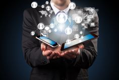 Manager with technologies Royalty Free Stock Photo