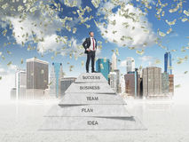 Manager is on the top of the business development pyramid in the sketched New York. Dollar bills are falling down from Stock Photos