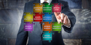 IT Manager Touching Security Audit in een Raadsel Royalty-vrije Stock Foto's