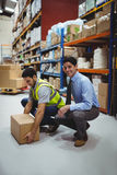 Manager training worker for health and safety measure Royalty Free Stock Image