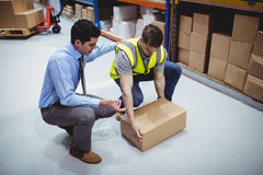 Manager training worker for health and safety measure Royalty Free Stock Photography