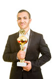 Manager with trophy Royalty Free Stock Photography