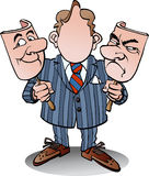 Manager with two face masks. Vector cartoon illustration of a manager with two face masks Royalty Free Stock Photos