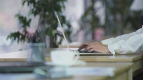 Manager typing on laptop, comfortable workplace, international corporation. Stock footage stock footage