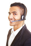 Manager using a headset Royalty Free Stock Image