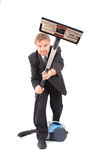 Manager and vacuum cleaner Royalty Free Stock Photography