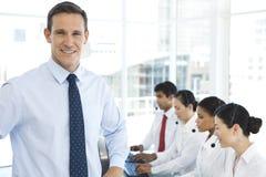 Manager van een call centre stock afbeelding