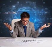 Manager voor het bureau met communicatie concept royalty-vrije stock foto