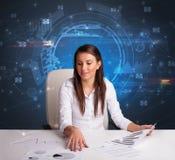 Manager voor het bureau met communicatie concept stock afbeelding