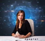 Manager voor het bureau met communicatie concept royalty-vrije stock foto's